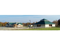 New horse complex: Fiore Farms Horse Court (FFHC): 5 stalls, large Court for easy transit, wash-stall H/C water, feed-room, shaving-room, hay-room, tack-room, lounge, storage room, wrap around porches, 3 bathroom + sitting deck at arena